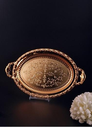 Bayev Dekorlu Altın Oval Tepsi - 200606 Altın